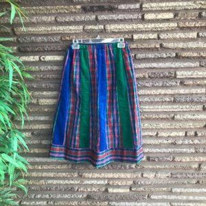 Handmade Vintage Christmas Plaid Velveteen Skirt